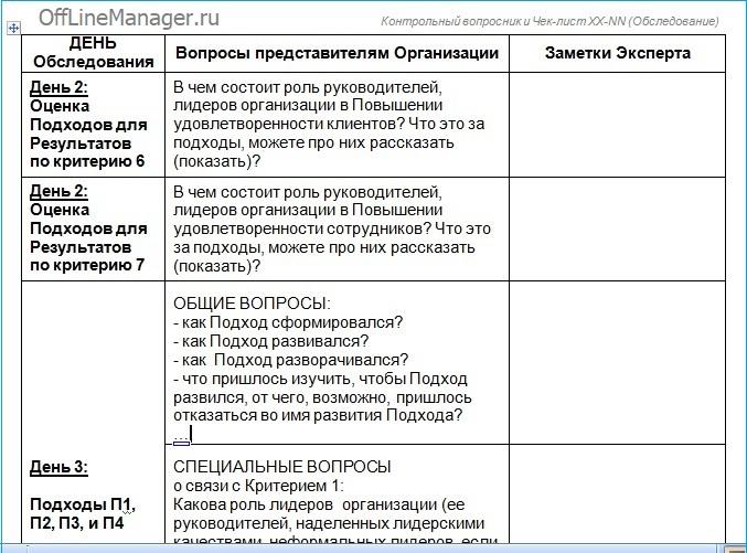 Фрагмент страницы 4 Контрольного вопросника критерий 1