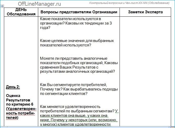левая четная страница разворота Контрольного вопросника критерий 6